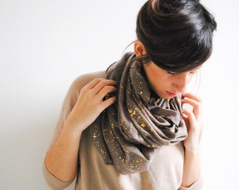 Light Brown Infinity Scarf with golden dots - Nursing Cover - Nursing Scarf - Gift for her - Spring Summer Scarf