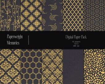 Gilded Dreams  - digital patterned paper - Instant Download -  digital scrapbooking - patterned & textured paper - CU OK