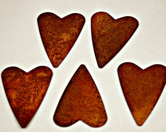 Set of Five Rusted Metal Hearts