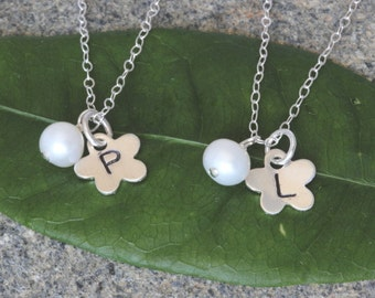 Flowergirl  Necklace. Sterling Silver Freshwater Pearl Necklace,Flower Girl Necklace Gold, Flower Girl Jewelry Set, Pearl Necklace, Initial