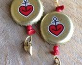 Astra Beer Heart & Anchor Bottle Cap Earrings