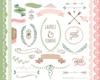 Laurels clipart, Ribbons, Wreaths, Banners, Boarders, Dividers, Arrows. Clip art for scrapbooking, wedding invitations, Small Commercial Use