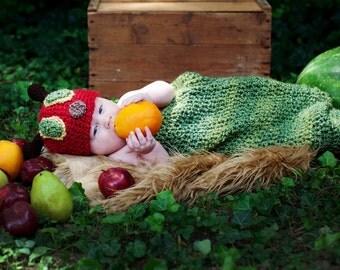 Crochet  Caterpillar hat & cocoon set