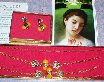 """Stanhome""""Sunstone"""" Necklace Earring Set - Goldtone - Vintage 1970s - SHP - Stanley Home Products"""