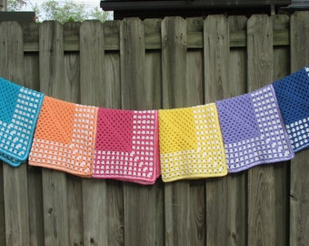 Crochet Granny Square Baby Blanket Your Choice of Color