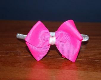 Chevron Bright Pink  Bow Satin Headband / Toddler Headband / Bow Headband / Satin Wrapped Headband / Adult Headband