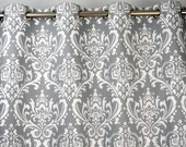 Gray White Damask Ozborne Curtains - Grommet - 84 96 108 or 120 Long by 24 or 50 Wide - Optional Blackout or Cotton Lining