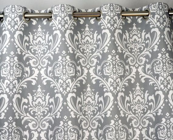 Pair of Grommet Top Curtains in Storm Gray Grey And White Traditions ...