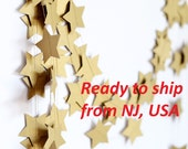 Rustic gold garland - Holiday Garland - New Year Decor - 10 feet 12 feet  15 feet - Ready to ship from USA