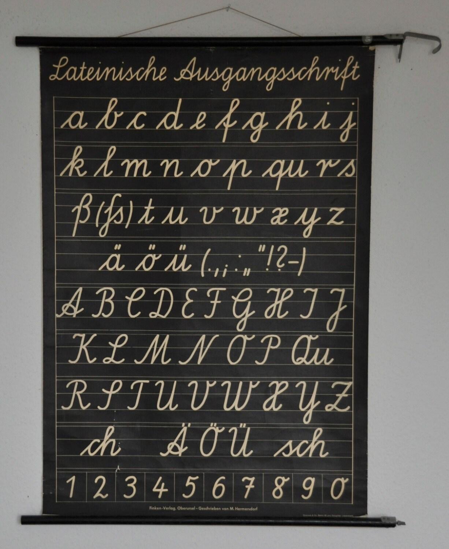 original mid century classroom poster cursive alphabet pull. Black Bedroom Furniture Sets. Home Design Ideas