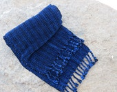 Royal Blue and Black Log Cabin Chenille Scarf