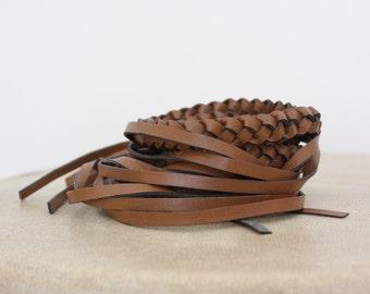 vintage leather fringe belt brown 1980  braided leather, Boho Belt