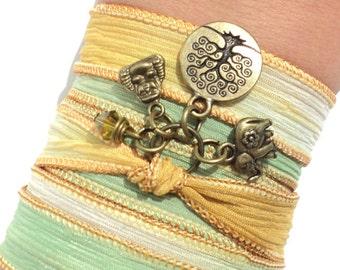 Bohemian Silk Wrap Bracelet Yoga Jewelry Tree of Life Om Buddha Upper Arm Band Ganesha Earthy Unique Gift For Her Under 50 Item Y137