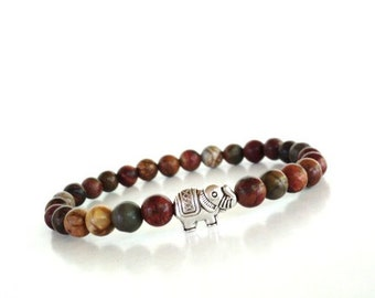 Sacred Elephant Mala Bracelet Yoga Jewelry Picasso Jasper Meditation Spiritual Unique Birthday Under 20 Item S59