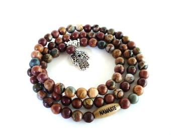 Namaste Hamsa Wrap Bracelet Yoga Jewelry Spiritual Healing Mala Meditation Necklace Evil Eye Unique Earthy Gift For Her Under 50 Item K33