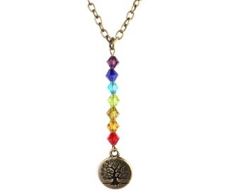 Tree of Life Necklace  7 Chakra Yoga Jewelry Talisman Meditation Colorful Unique Spiritual Healing Recovery Gift For Her Under 30 Item A71