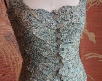 Romantic Victorian Style Sea glass Hand Knit Lace Corset Bodice Bohemian Renaissance Steampunk Goth Highlander Wedding