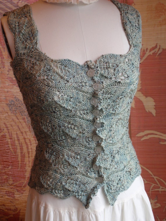 Patterns For Knitted Dog Coats : Romantic Victorian Style Sea glass Hand Knit Lace Corset