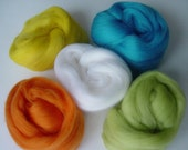 5 x Felting wools, Bright colour mix, Lovely, soft Merino wool fibre.
