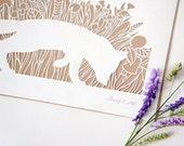 Meadow Grass Fox, handmade papercut poster, white, brown, A4