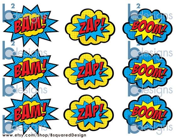 Superhero Cupcake Toppers Boom Bam Zap Pow And Pop Pc