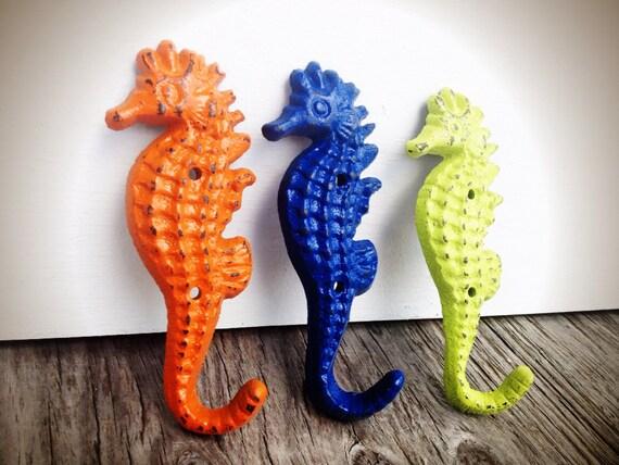 BOLD Trio Seahorse Towel Hooks Lime Green Orange Navy Blue