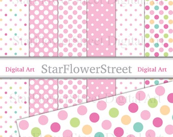Pink Polka Dot Digital Paper - pastel pink with rainbow dots small large scrapbooking - printable pink dot paper polka dot scrapbook paper