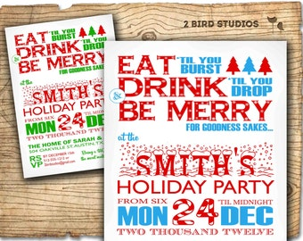 Christmas party invitation - Holiday party invitation - Adult holiday party invite - Eat Drink Be Merry Christmas party invite