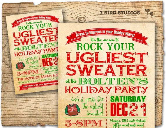 ugly christmas sweater party ideas by funky christmas sweaters, Party invitations