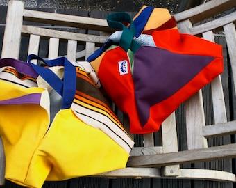 origami Jakou, waterproof, upcycled industrial canvas  zen bag. Shoulder bag,