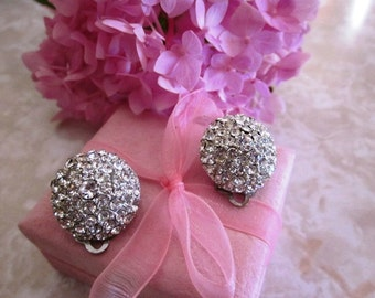 Vintage Round Rhinestone Clip on Earrings in Silver Setting, Bridal, Wedding, Engagement