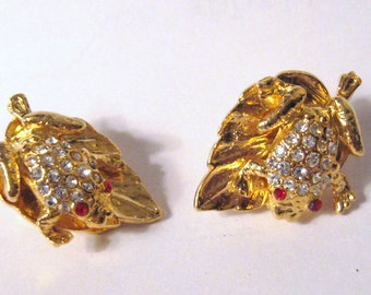 JEWELED Vintage Gold FROG on Leaf Red & Diamond White Pave RHINESTONE Cluster Clip Back Earrings Retro Hollywood Mod Mid Century