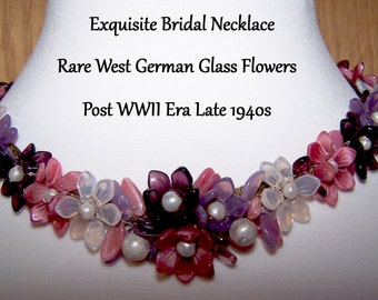 Necklace Bridal Wedding Vintage Jewelry Exquisite Rare West Germany Post WWII Era Late 1940s FREE SHIPPING