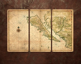"Vintage Island of California  METAL Map Triptych 36x24"" FREE SHIPPING"