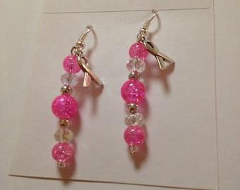 Breast Cancer Awareness Beaded Earrings