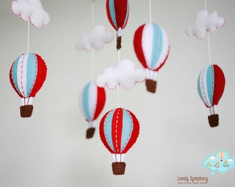 Red and blue hot air balloons baby mobile, Red and blue, hot air balloon, whimsical baby mobile, up in the sky crib mobile, best baby mobile