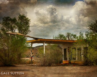Old Gas Station Route 66 - Fine Art Photo - Route 66 - Gift for Men -  Southwest - Americana - Home Office Decor - Grunge - Garage Art