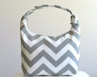 Insulated Lunch Bag, Lunch Bag For Women , Chevron Lunch Tote, Reusable Lunch Tote-Gray Chevron