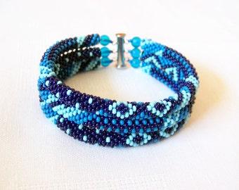 Beadwork - 3 Strand Bead Crochet Rope Bracelet in blue, dark blue and sky blue - beaded jewelry - seed beads bracelet