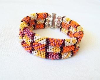 Beadwork - 3 Strand Bead Crochet Rope Bracelet in orange, red and beige - beaded bracelet - seed beads jewelry