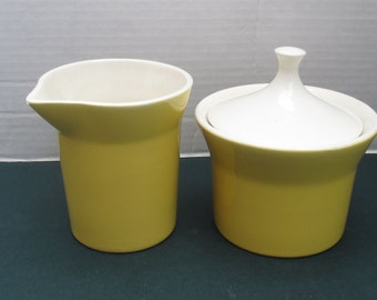 Royal China Jeannette - Margarita Pattern Yellow and White - Creamer and Sugar with Lid Set - 1970s