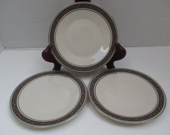 Franciscan China - Constantine Pattern USA Bread & Butter Plates - Masterpiece China Platinum Lavender Pink - Set of 3 - 1960s