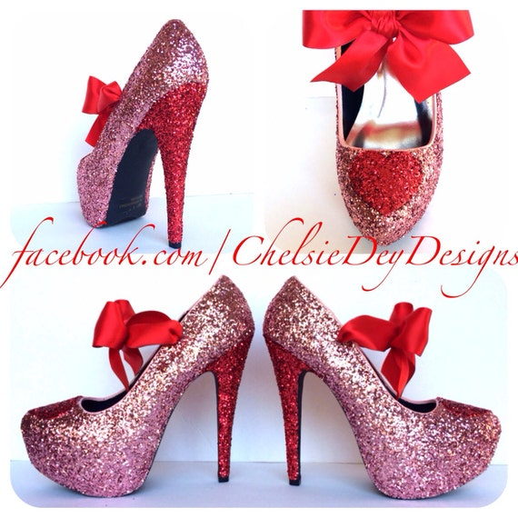 Glitter High Heels - Red Light Baby Pink Pumps - Heart Sweetheart Blush Satin Bows - Sparkly Wedding Shoes - Platform Prom Pumps