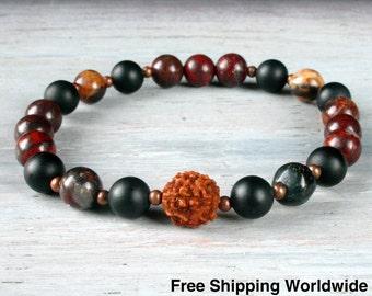 Strength Yoga Bracelet - Wrist Mala - Yoga Jewelry, Rudraksha, Jasper, Yoga Stretch Bracelet, Om Jewelry, Zen Bracelet, Free Shipping