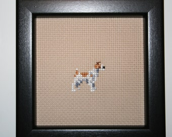 Jack Russell Terrier Cross Stitched Full Body  Dog.