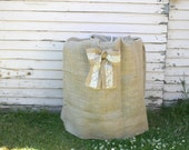 Burlap Keg Bag with Lace Bow-  Rustic country wedding decor