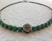 Sterling Silver Necklace with Blue-Green Ceramic Beads