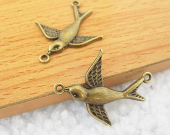10pcs 29x36mm Antique Bronze Lovely Bird Connector Link Charms Pendant Jewelry Supplies A2648-8A