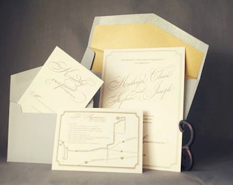 Kathryn Suite: Classic Gold Thermography Wedding Invitation