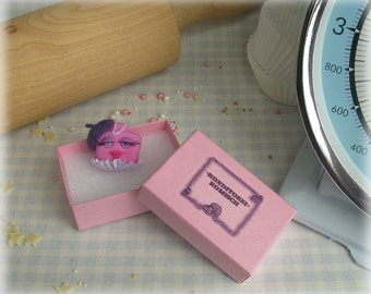 Cake Brooch Polymer Clay French Fancy Jewellery Humorous Pink Fimo Food Pin Badge Made to Order